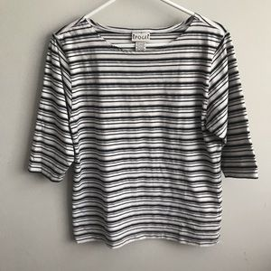 Epogee Black & White Striped 3/4 Sleeve Top